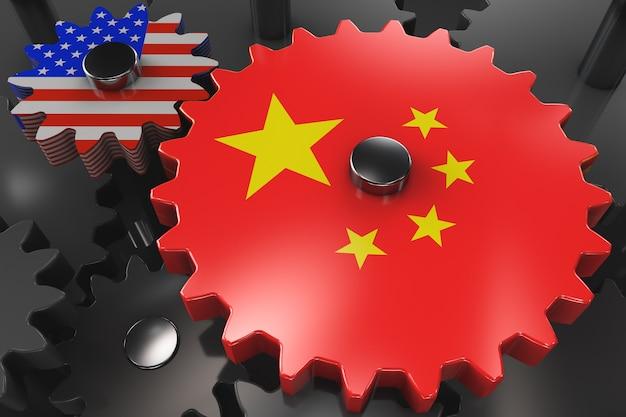 Китайско-американская концепция экономической машины. шестеренки с символикой сша и китая Premium Фотографии