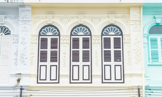 Sino-portuguese architecture of ancient building in phuket town.