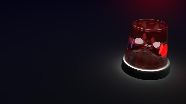 Siren emergency lights on the dark, 3d rendering