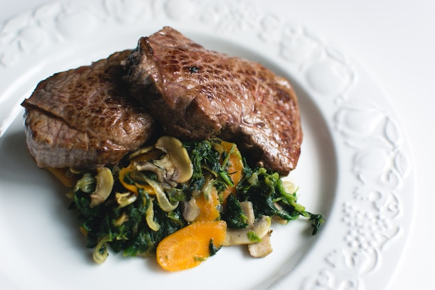 Sirloin beef steak with vegetables