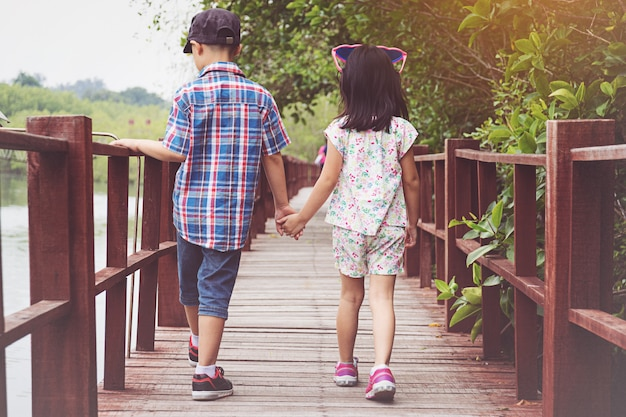 Sister and brother hand in hand walking together in wood bridge