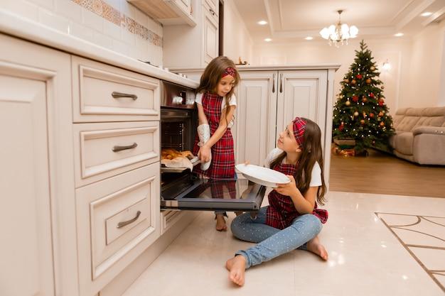 クリスマスの夕食を作る姉妹