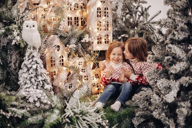 Sorelle posa per la fotocamera in una bellissima decorazione natalizia con molti alberi sotto la neve