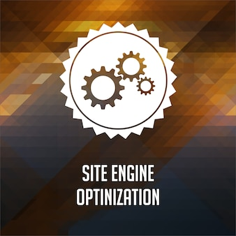 Site engine optimization concept. retro label design. hipster background made of triangles, color flow effect.