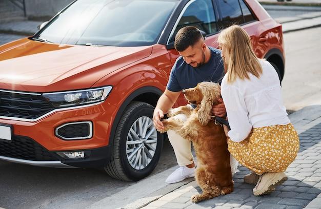 ペットと一緒に座ります。素敵なカップルが車の近くで犬と一緒に屋外で散歩をしています。