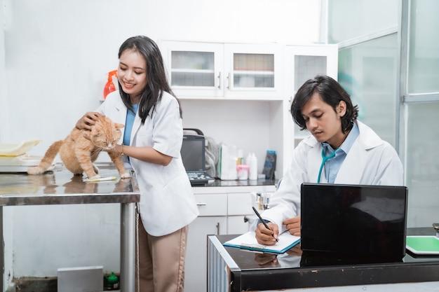 獣医クリニックの机に座りながら、座っている猫を抱きかかえ、女性医師と男性医師がメモを取る。