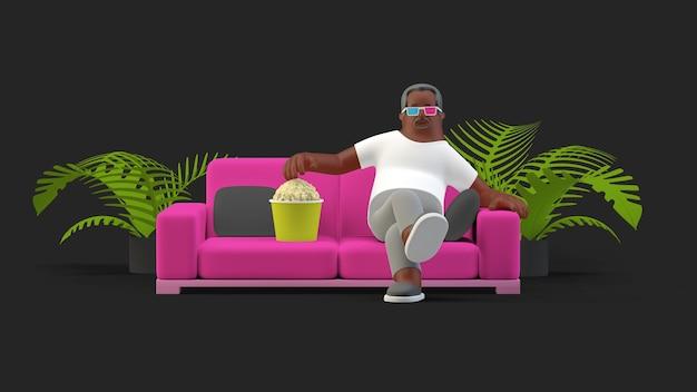 Una seduta sul divano con gli occhiali 3d che mangia popcorn guardando un videogioco 3d