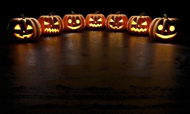 Шесть жутких улыбающихся тыкв на хэллоуин светятся в темноте с отражениями на полу