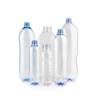 Six diverse new unused blue empty plastic bottles without caps isolated on white background