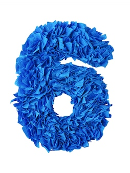 Six, handmade number 6 from blue scraps of paper isolated on white