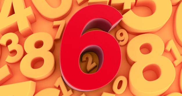 Six red number  on the middle. 3d red number collection - 6
