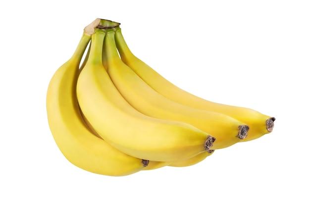 白い背景で隔離の6つの熟したバナナ。完全な被写界深度。クリッピングマスク。