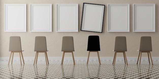 베이지 색 벽에 6 개의 수직 흰색 프레임과 의자