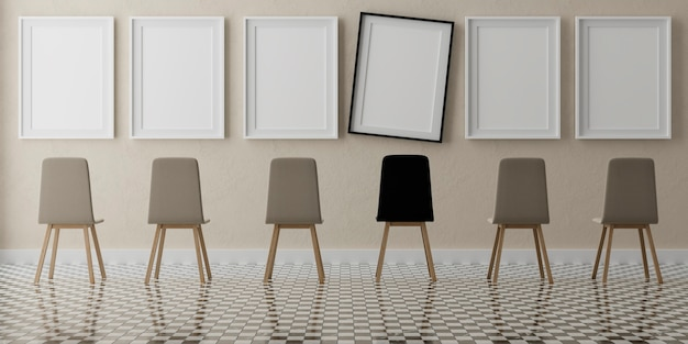 Six vertical white frames and chairs on beige wall