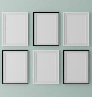 Six vertical wooden frames on grey wall