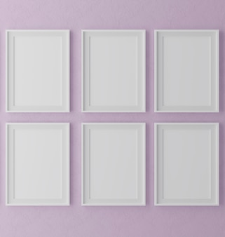 Six vertical wooden frames on purple wall background with plants