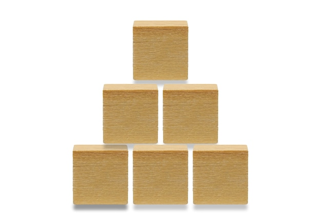 6 나무 큐브, 흰색 배경에 고립 된 나무 기하학적 모양 큐브