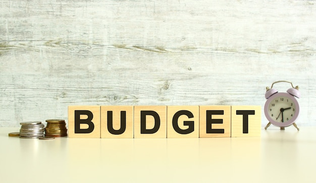 동전 옆 탁자 위에 글자가 있는 6개의 나무 큐브가 있습니다. 단어는 예산입니다. 회색 배경에.