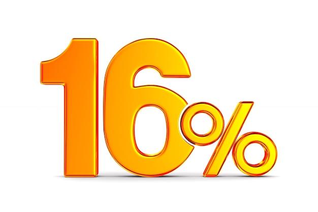 Шестнадцать процентов на пустом месте. изолированные 3d иллюстрации