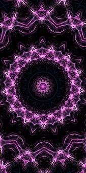 Шестое чувство. калейдоскоп психической среды. калейдоскопические формы, транс и концепция медитации. акриловые яркие краски образуют круглый узор мандалы разнообразной формы вертикальное изображение.