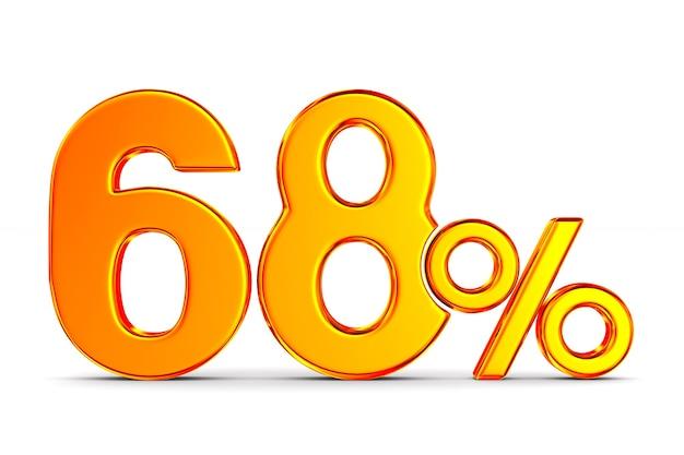 Шестьдесят восемь процентов на белом пространстве. изолированные 3d иллюстрации
