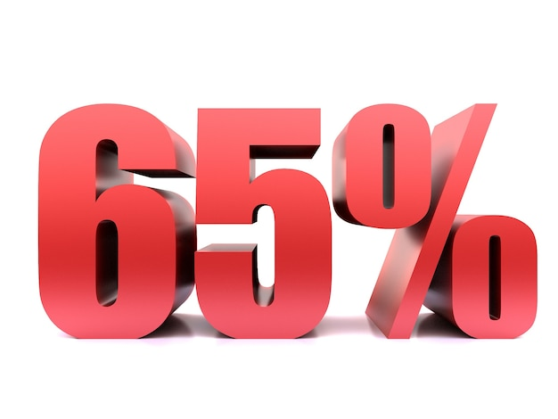 Шестьдесят пять процентов 65% символ .3d рендеринг