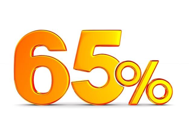 Шестьдесят пять процентов на пустом пространстве. изолированные 3d иллюстрации