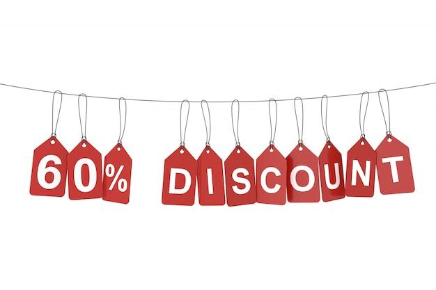 Sixty percent discount tag. 3d rendering.