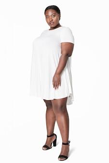 크기 포함 패션 화이트 드레스 의류