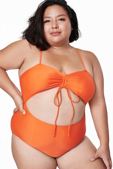 크기 포함 주황색 수영복 의류 패션