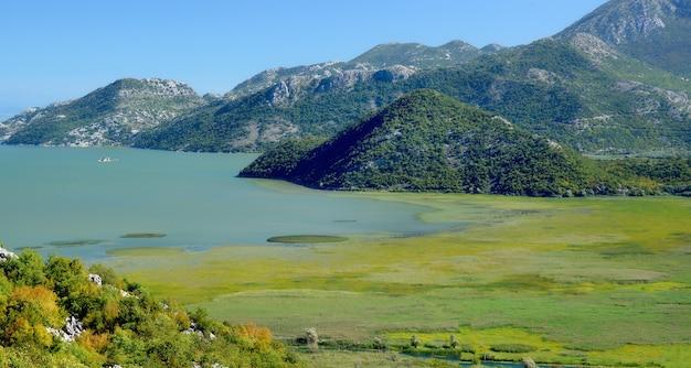 モンテネグロのスカダー湖、湿地、山の景色