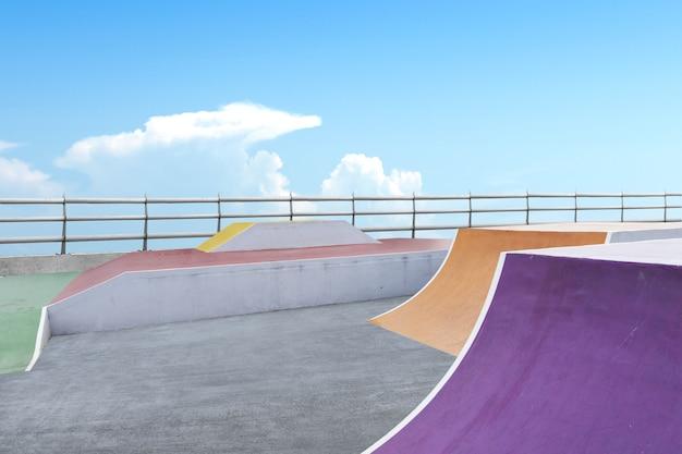 Skate or bmx playground with blue sky background