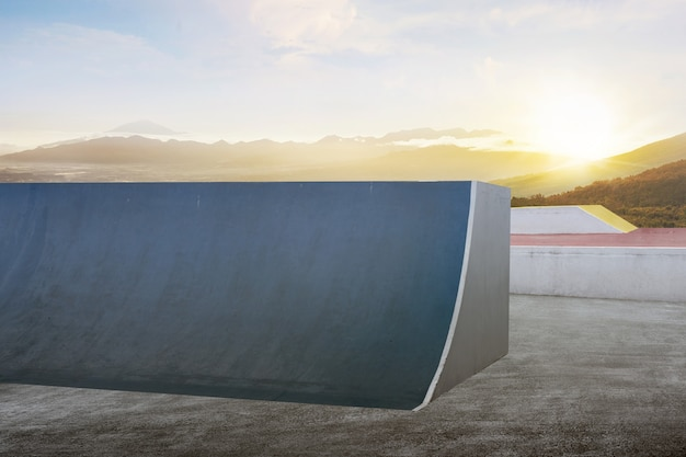 Skate or bmx playground with sunset sky background