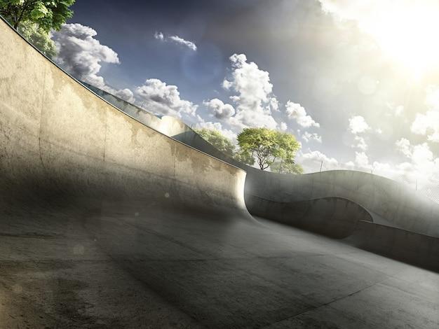 Скейт-парк днем. бетонный скейтпарк городского дизайна