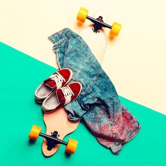 Skateboard jeans sneakers love urban fashion minimal design
