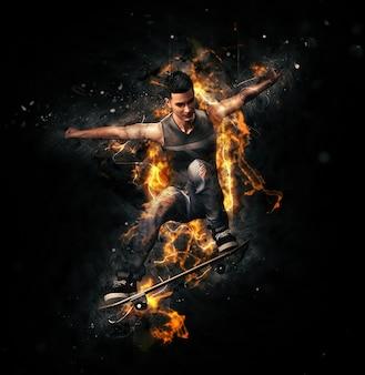 Скейтбордист прыгает в электрические волны и огонь