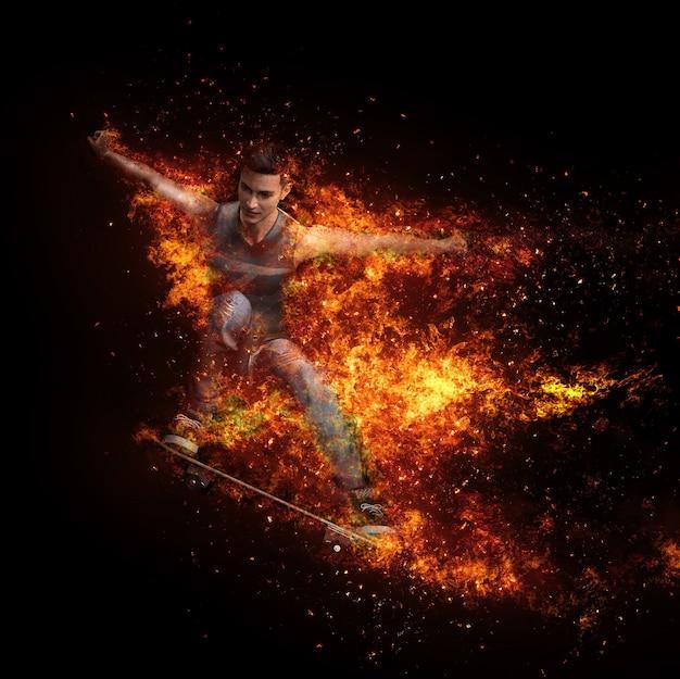Скейтбордист прыгает в красном огненном шаре