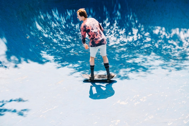 スケートボーダーの練習と乗馬