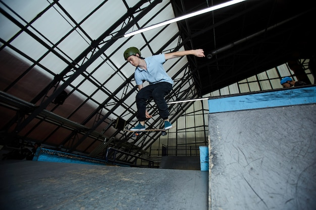 Skateboarding on stadium