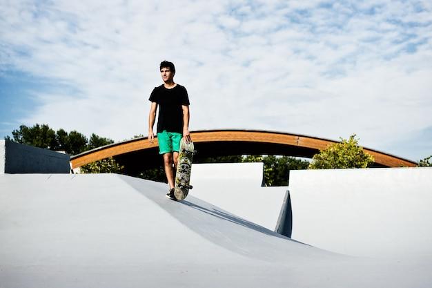 Skater on a brand new skatepark