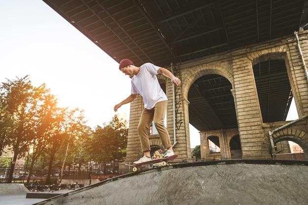 Skater training in a skate park in new york