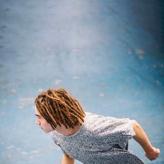 Skater with dreadlocks
