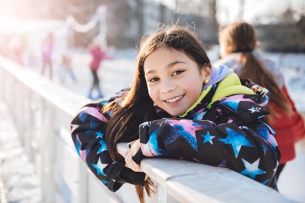 Skating girl having fun