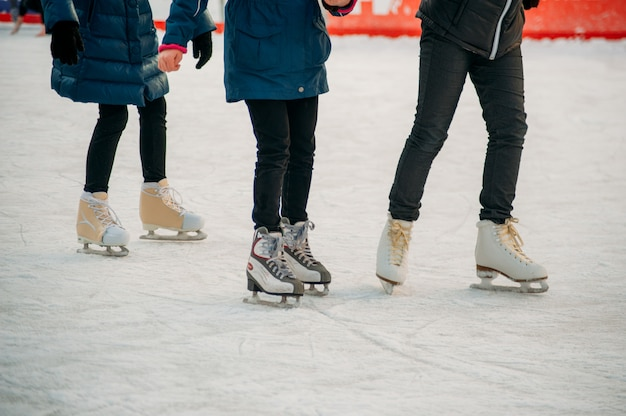 Skating on ice rink