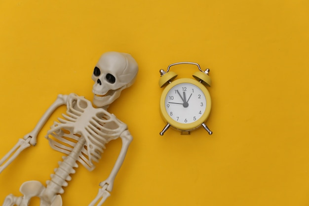 Skeleton and alarm clock on yellow background.