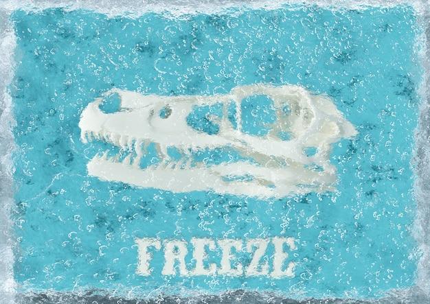 Skeleton dinosaur frozen in ice cube, on blue background