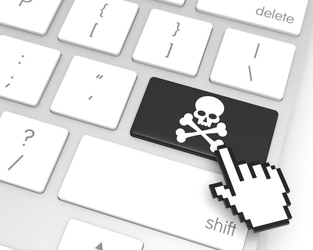 Скелетная клавиша ввода с курсором в виде руки 3d-рендеринг