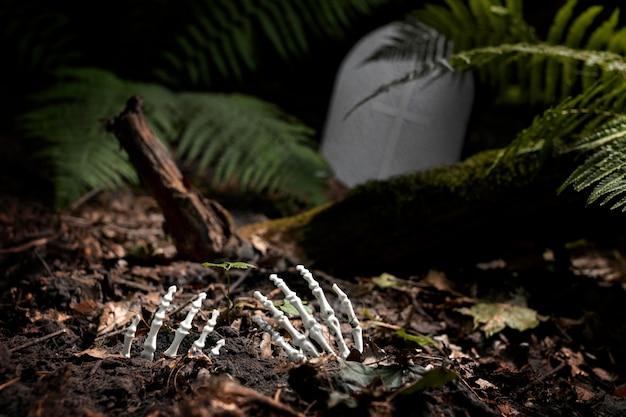 Scheletro con le mani a terra in un cimitero