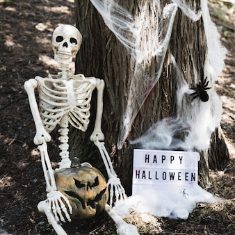 Skeleton sitting near tree with pumpkin and happy halloween inscription
