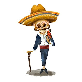 Skeleton in sombrero illustration. day of the dead, cinco de mayo vintage greeting card on white background